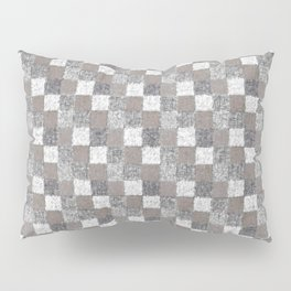 Rustic Charcoal Beige and Cream Patchwork Pillow Sham
