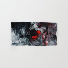 Red and Black Minimalist Abstract Painting Hand & Bath Towel