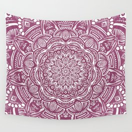 Wine Maroon Ethnic Detailed Textured Mandala Wall Tapestry