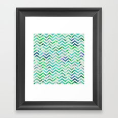 GREEN FLORAL CHEVRON Framed Art Print