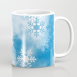 Christmas Elements Blue White Snowflakes Design Pattern Coffee Mug