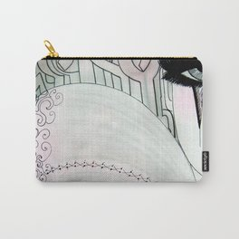 GREY PINK 80S PIERROT CLOWN HARLEQUIN ART DECO PRINT Carry-All Pouch
