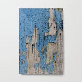 Blue Weathered Wood Metal Print