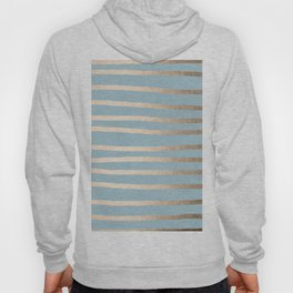 Abstract Drawn Stripes Gold Tropical Ocean Sea Blue Hoody
