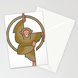 Monkey Balancing Illustration Stationery Cards