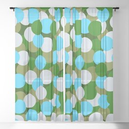 Abstraction_DOTS_GREEN_BLUE_COLOR_03 Sheer Curtain