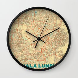 Kuala Lumpur Map Retro Wall Clock