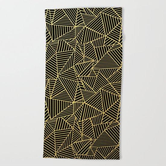 Ab 2 R Black and Gold Beach Towel
