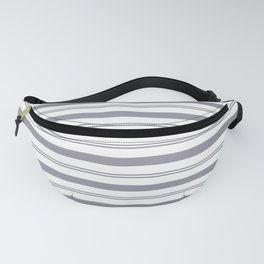 Pantone Lilac Gray and White Stripes, Wide and Narrow Horizontal Line Pattern Fanny Pack