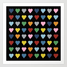 64 Hearts Black Art Print
