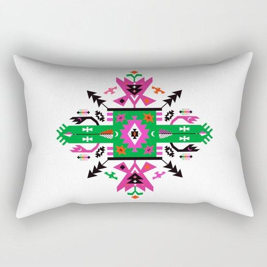 Fuchsia and Green Ethnic Aztec Ornament Rectangular Pillow