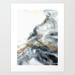 Gold black white marble look abstract painting Art Print