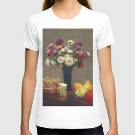 Henri Fantin-Latour - Asters And Fruit On A Table T-shirt