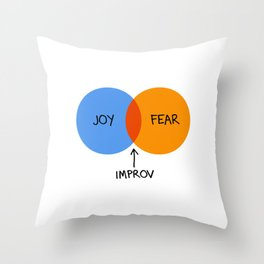 The Venn of Improv (Orange/Blue) Throw Pillow