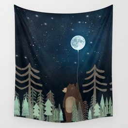 the moon balloon Wall Tapestry