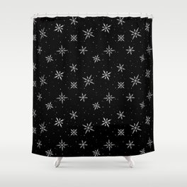 Nordic Snow - White Line Shower Curtain