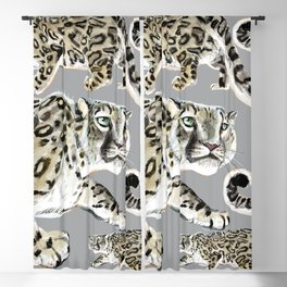 Snow leopard in grey Blackout Curtain