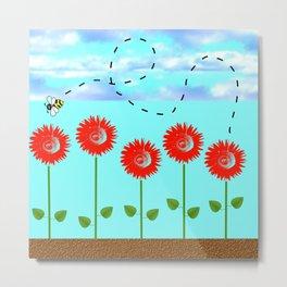 Sunflowers and bee Metal Print