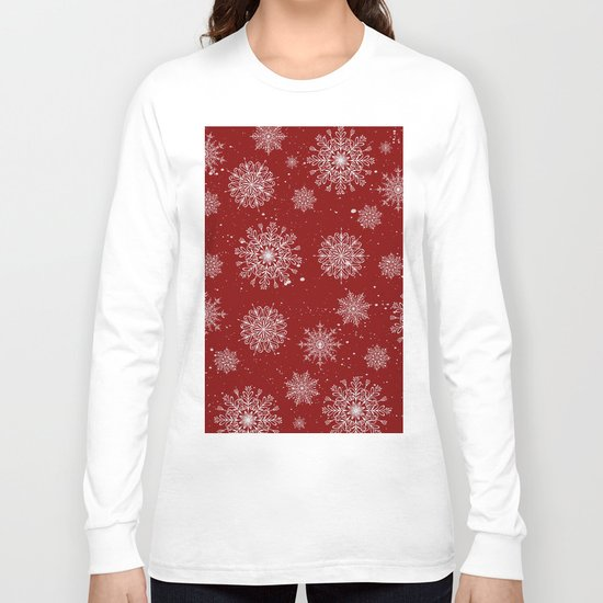 Assorted White Snowflakes On Red Background Long Sleeve T-shirt