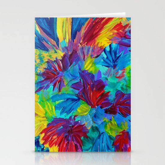 TUTTI FRUTTI - Fruit Punch Floral Bouquet Flowers Bright Bold Colorful Painting Romantic Rainbow Stationery Cards