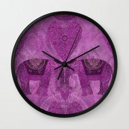 Elephants in Love pink heart artwork Wall Clock