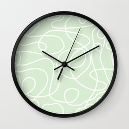 Doodle Line Art | White Lines on Palest Green Wall Clock