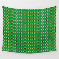 brazil Wall Tapestries featuring Brazil Flag by klausbalzano