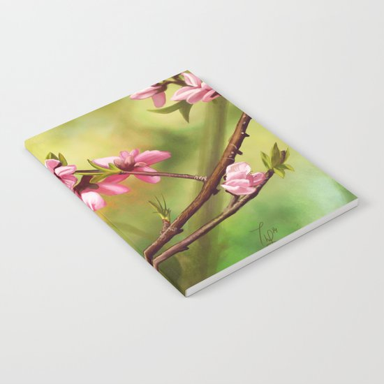 Spring and pink flowers on a branch Notebook