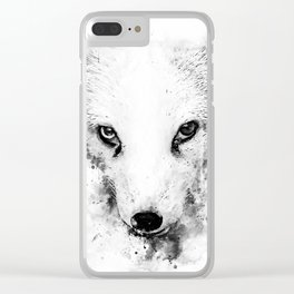 arctic fox bicolor eyes ws bw Clear iPhone Case