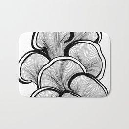 Mushrooms in black and white Bath Mat