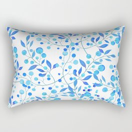 Modern hand painted teal blue watercolor floral pattern Rectangular Pillow