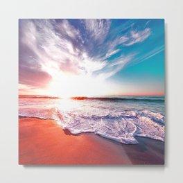 Calm Peaceful Beach Sunrise Metal Print