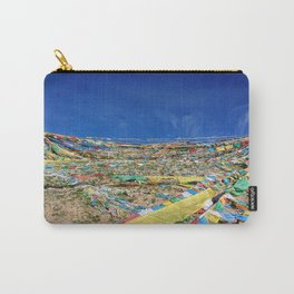 colorful prayer flags on the Tibetan mountain Carry-All Pouch