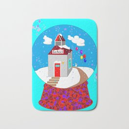 A Winter Wonderland Snow Globe School House Bath Mat
