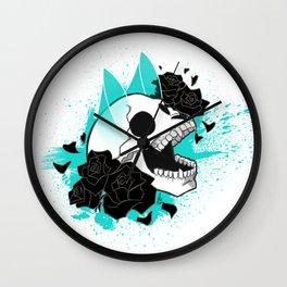 Skull 'n' Roses (ScribbleNetty-Colored) Wall Clock
