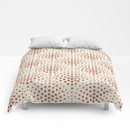 Cavern Clay SW 7701 Polka Dot Scallop Fan Pattern on Creamy Off White SW7012 Comforters
