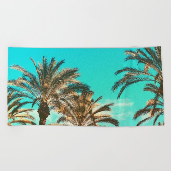 Tropical Palm Trees  - Vintage Turquoise Sky Beach Towel