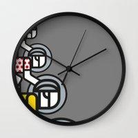 tour de france Wall Clocks featuring Peloton Tour De France by sonsofwolves