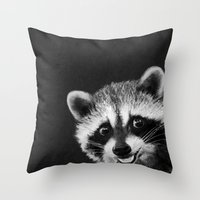 raccoon Throw Pillows featuring Raccoon  by Laura Graves