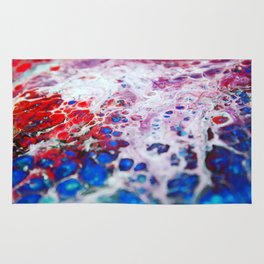 Mountain Chain, Pour Painting, Blue, Red Rug
