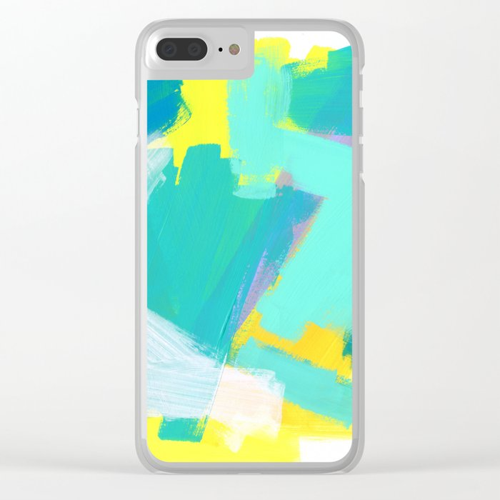 Be Kind, Be OK - mint modern mint abstract painting pastel colors Clear iPhone Case