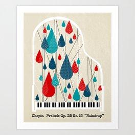 "Chopin - Prelude Op. 28 No. 15 ""Raindrop"" Art Print"
