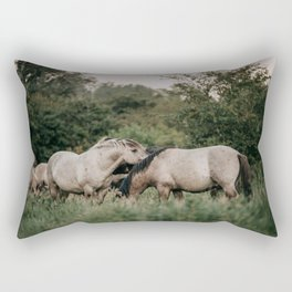 Collection herd of wild Konik horses in the Netherlands | Wild life photography Rectangular Pillow
