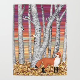 nuthatches and fox in the birch forest Poster