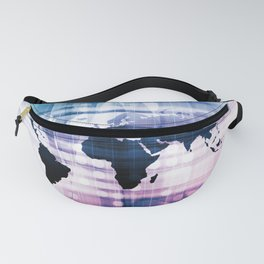 Global Business Network with Technology Theme Concept Fanny Pack