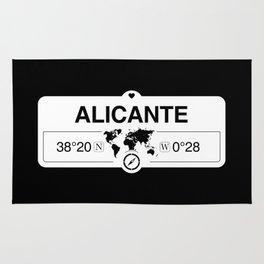 Alicante Valencian Community with World Map GPS Coordinates Rug