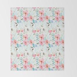 Garden Watercolour Floral Throw Blanket
