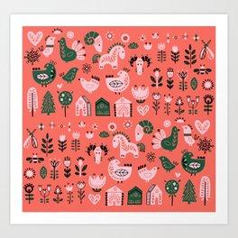 Polki Pink and Green  Art Print
