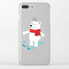 Lets Go Skiing with Mr Polar Bear this Merry Christmas Clear iPhone Case