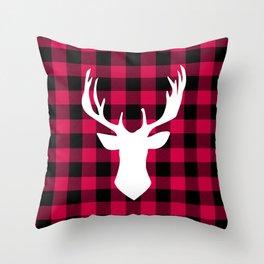 Winter Plaid Deer Throw Pillow